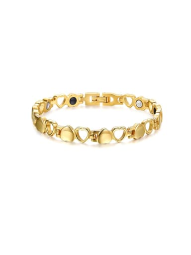 Golden Stainless Steel With Gun Plated Simplistic Hollow Heart Bracelets