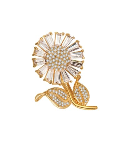 Copper Cubic Zirconia Flower Dainty Brooch