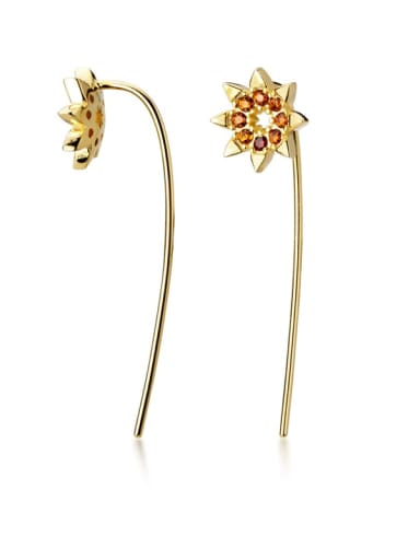 925 Sterling Silver Rhinestone Multi Color Flower Minimalist Threader Earring