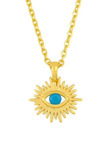 blue Brass Cubic Zirconia Evil Eye Vintage Necklace
