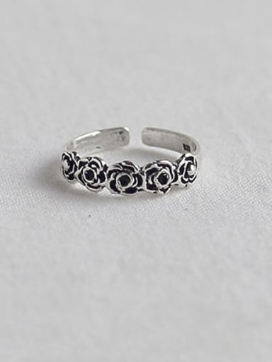 925 Sterling Silver Flower Vintage   Free Size Ring