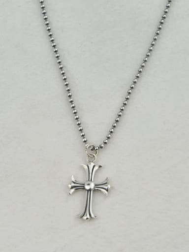 Vintage Sterling Silver With Antique Silver Plated Fashion Cross Necklaces