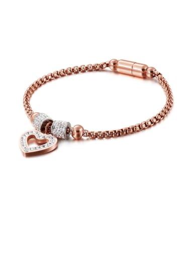 Titanium Cubic Zirconia White Heart Minimalist Adjustable Bracelet