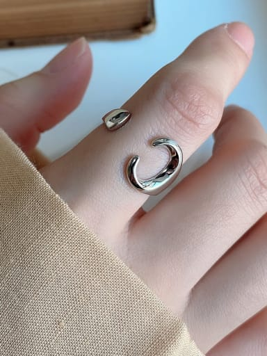925 Sterling Silver Irregular Minimalist Wrench Free Size Band Ring