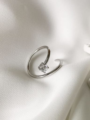 925 Sterling Silver with Cubic Zirconia free size Ring