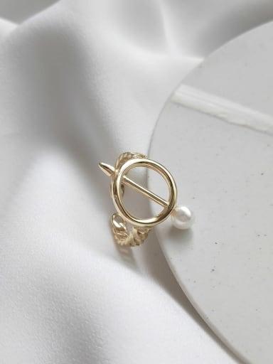 925 Sterling Silver Imitation Pearl Chain  Geometric Minimalist Midi Ring