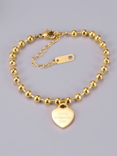 Gold bracelet love Titanium Bead Heart Classic Beaded Bracelet