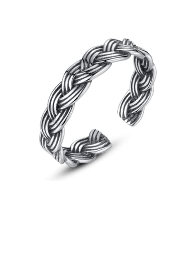 925 Sterling Silver Irish Vintage Multi Stripe Twist Free Size ring