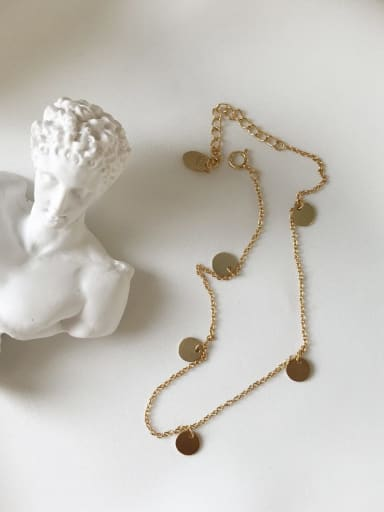 925 Sterling Silver minimalist 0-word Chain Gold summer round piece foot chain