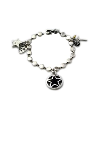 Vintage Sterling Silver With Simple Retro Hollow Chain Cross Crown Pendant Bracelets
