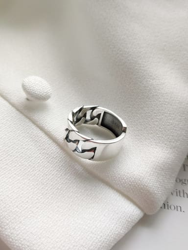 925 Sterling Silver Geometric Chain Trend free size Ring