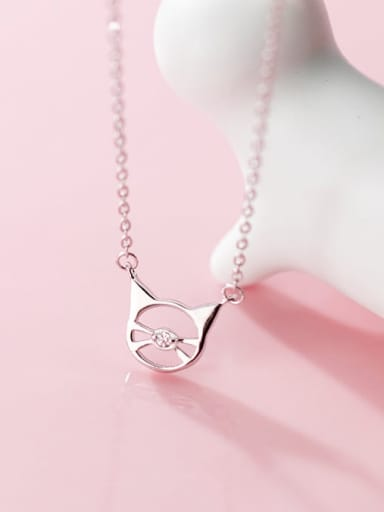 925 Sterling Silver  Minimalist Cute Hollow Cat Pendant Necklace
