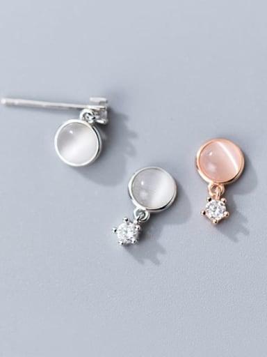 925 Sterling Silver Cats Eye Round Minimalist Drop Earring
