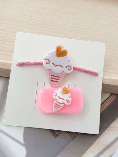 4 ice cream Alloy Acrylic Cute Children cartoon animal fruit Hairpin Rubber band Set