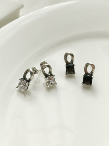 925 Sterling Silver Cubic Zirconia White Geometric Vintage Stud Earring