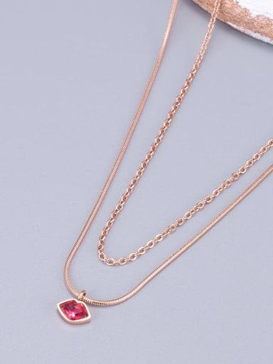 Titanium Cubic Zirconia Red Square Minimalist Multi Strand Necklace
