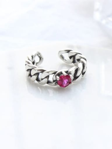 925 Sterling Silver  Vintage Hollow chain free size Ring