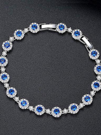 Blue t14d17 Copper Cubic Zirconia Multi Color Geometric Dainty Bracelet
