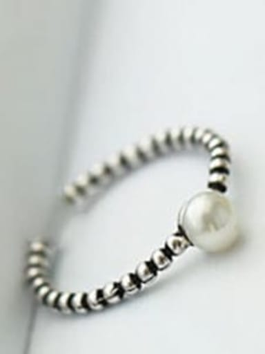J 265 925 Sterling Silver Freshwater Pearl Band free size Ring