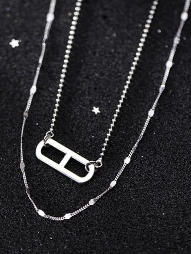 925 Sterling Silver Hollow  Geometric Minimalist Tassel Necklace