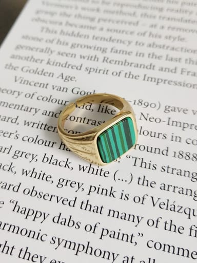 925 Sterling Silver Turquoise Green Square Minimalist Free Size Band Ring