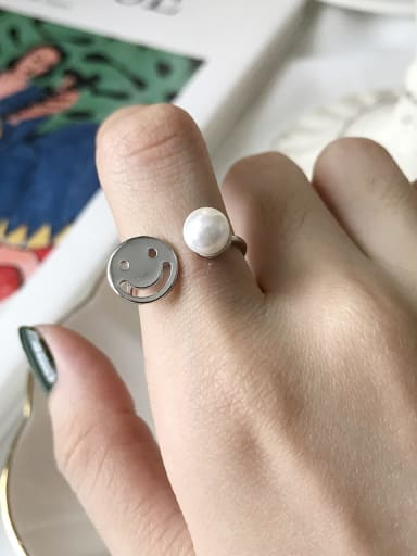 925 Sterling Silver Imitation Pearl Face Minimalist Free SIze  Midi Ring