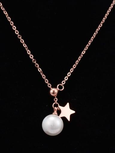 Titanium Imitation Pearl White Pentagram  Necklace
