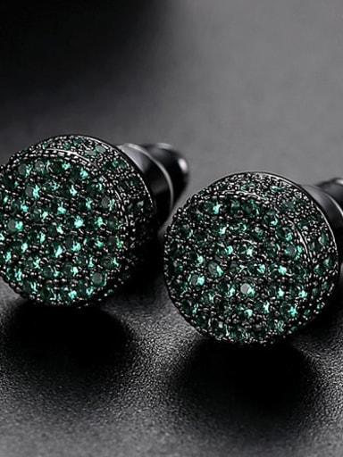 Gun black Copper Cubic Zirconia Round Minimalist Cluster Earring