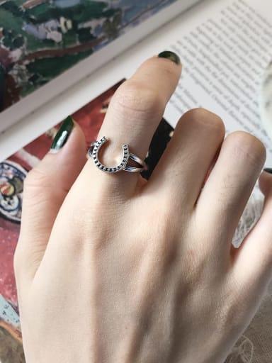 925 Sterling Silver Letter-U Vintage Geeky Ring