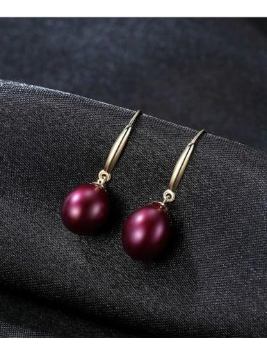 Burgundy 04b04 925 Sterling Silver Freshwater Pearl Multi Color Oval Minimalist Hook Earring