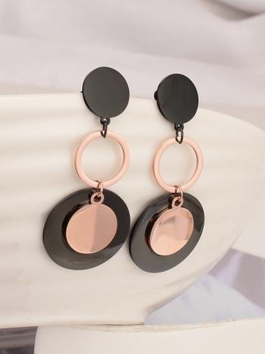 Titanium Round Minimalist Drop Earring