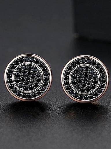 Black zirconium rose Copper Cubic Zirconia Round Minimalist Cluster Earring
