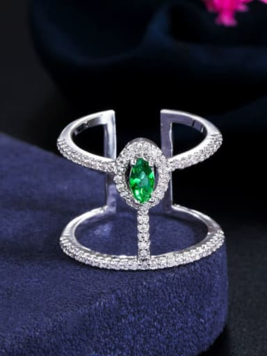 green Copper Cubic Zirconia Geometric Dainty Free Size Band Ring