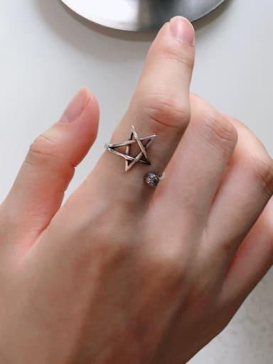 925 Sterling Silver  Minimalist Retro pentagram Free Size Ring