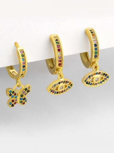 Brass Cubic Zirconia Butterfly Vintage Huggie Earring