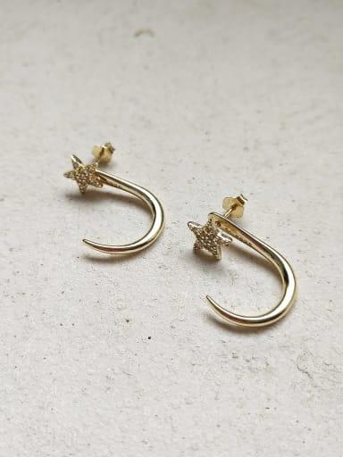 925 Sterling Silver Irregular Star Hook Stud Hip Hop Hook Earring