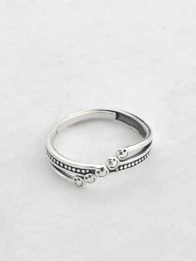 925 Sterling Silver With Platinum Plated Fashion Irregular Smiley Free Size Rings