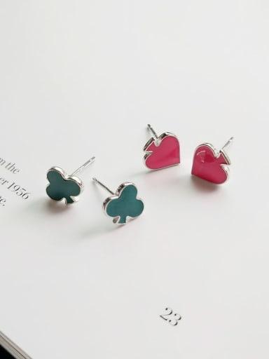 925 Sterling Silver Multi Color Enamel Heart Cute Stud Earring