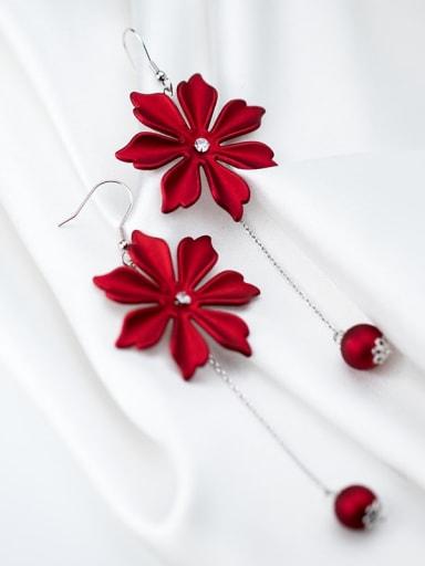 925 Sterling Silver Enamel Flower Minimalist Hook Earring