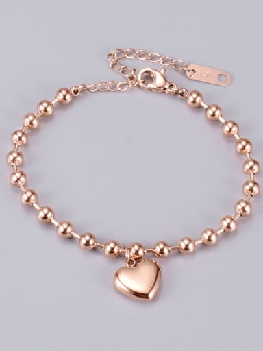 Titanium Smooth Heart Trend Beaded Bracelet