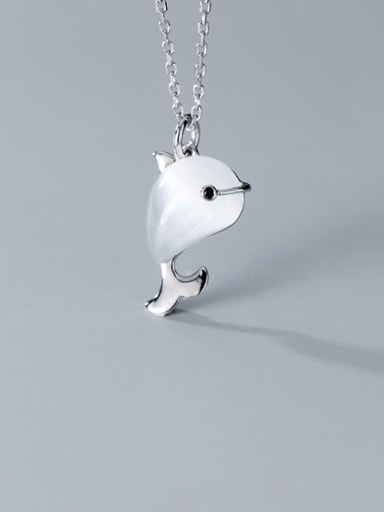 925 Sterling Silver Cats Eye  Minimalist Cute dolphin pendant Necklace