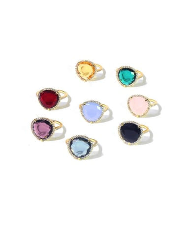Copper Cubic Zirconia Multi Color Heart Minimalist Cocktail Ring
