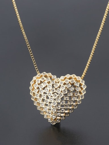 Gold Copper Cubic Zirconia Dainty Hollow Heart  Pendant  Necklace