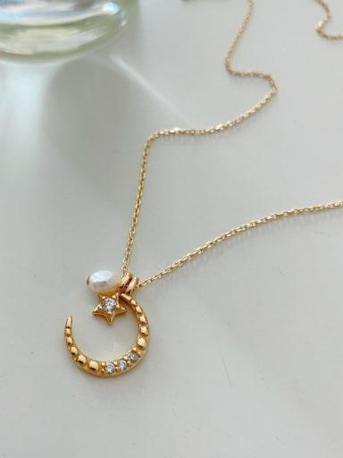 925 Sterling Silver Rhinestone  Minimalist Sun Moon Bead Necklace
