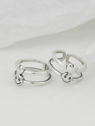Vintage Sterling Silver With Platinum Plated Simplistic Smooth Heart Free Size Rings