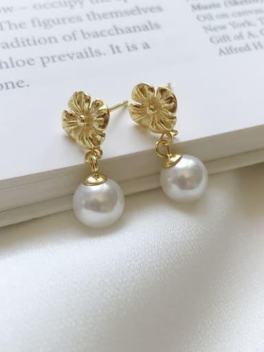 Flower Pearl Earrings 925 Sterling Silver Imitation Pearl White Flower Minimalist Drop Earring