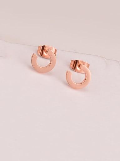 Titanium Rhinestone Letter D Minimalist Stud Earring
