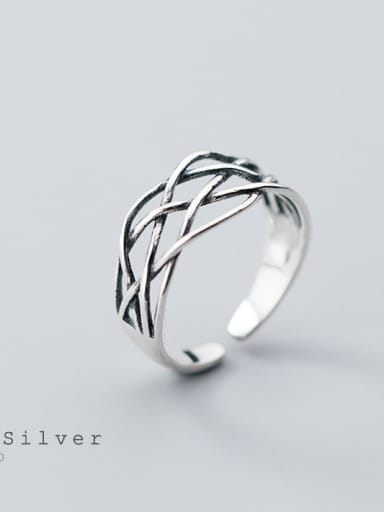 925 Sterling Silver Vintage Crossover Line Free Size Ring