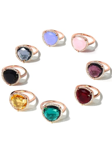 Copper Cubic Zirconia Multi Color Water Drop Minimalist Band Ring