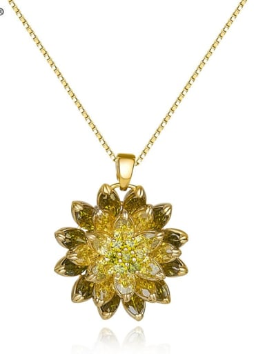 Copper Cubic Zirconia Flower Luxury Necklace
